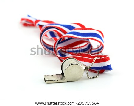 standless whistle with Thailand national flag lanyard in heart shape on white background - stock photo