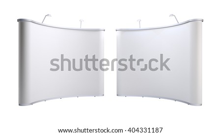 Stands with blank screen isolated on white background. 3D rendering