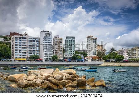 Stanely, Hong Kong, China skyline at the Main Street waterfront. - stock photo