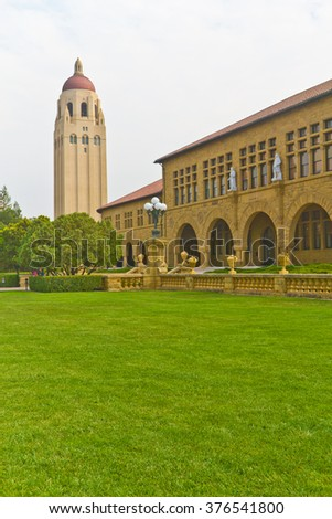 Stanford campus historical buildings and Hoover tower. - stock photo