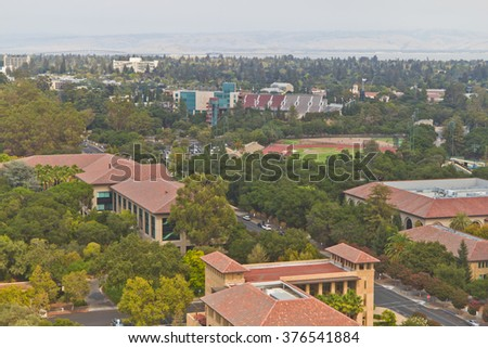 Stanford campus historical buildings and Palo Alto cityscape - stock photo