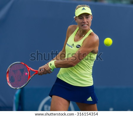 STANFORD, UNITED STATES - AUGUST 5 :  Angelique Kerber in action at the 2015 Bank of the West Classic WTA Premier tennis tournament
