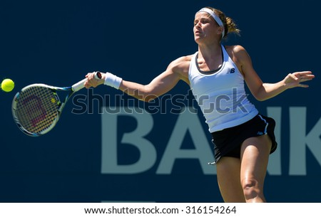 STANFORD, UNITED STATES - AUGUST 3 :  Nicole Gibbs in action at the 2015 Bank of the West Classic WTA Premier tennis tournament