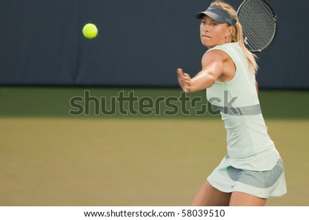 STANFORD UNIVERSITY, CA - JULY 27: Maria Sharapova, Russia, plays at the Bank of the West Classic vs. Zheng Jie, China, on July 27, 2010 in Stanford, CA