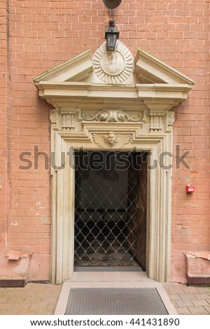 Staniatki in Southern Poland, historic convent, the nuns of the Benedictine abbey - gateway, clauce - stock photo