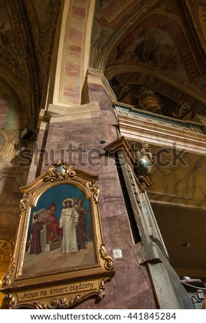 Staniatki, Poland - June 9, 2016: The historic convent, the nuns of the Benedictine abbey, interior of the church. - stock photo