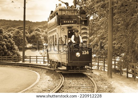 STANLEY, ENGLAND - JULY 10. Vintage tram working at the Beamish Open Air Museum on July 10, 2014, Stanley, England. - stock photo