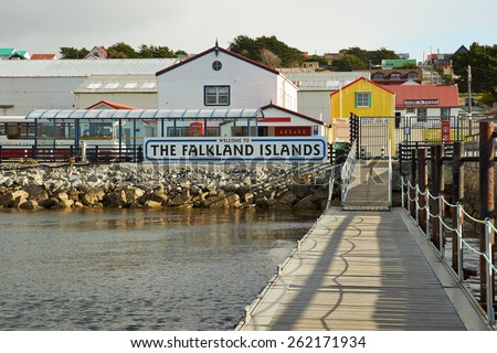 STANLEY, FALKLAND ISLANDS - FEBRUARY 13, 2015: Jetty used by visitors arriving by sea in Stanley, capital of the Falkland Islands. - stock photo