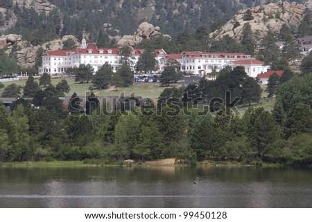 Stanley Hotel in Estes Park Colorado Rocky Mountain National Park - stock photo