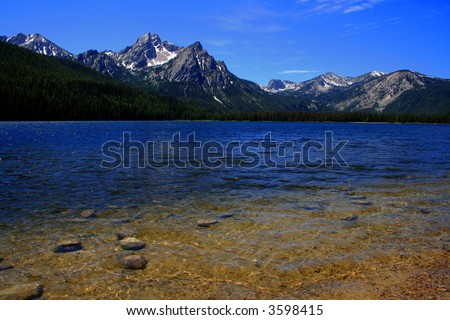 Stanley Lake with Sawtooths in background, Stanley Idaho - stock photo