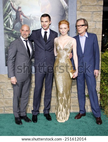 "Stanley Tucci, Nicholas Hoult, Eleanor Tomlinson and Bill Nighy at the Los Angeles Premiere of ""Jack The Giant Slayer"" held at the TCL Chinese Theater in Hollywood on February 26, 2013.  - stock photo"