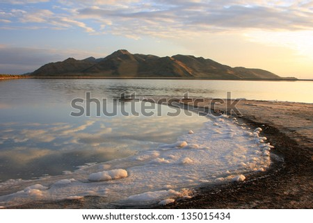 Stansbury Island on the Great Salt Lake, Utah, USA. - stock photo