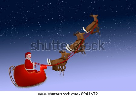 Stanta flying up into the stars above - stock photo