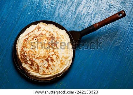 Staple of yeast pancakes, traditional for Russian pancake week - stock photo