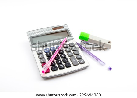 Staples Calculator Pen isolated on white background - stock photo