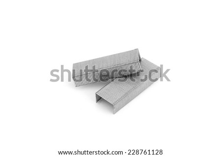 staples wires on white background. - stock photo