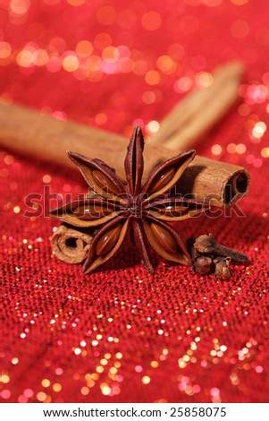 Star Anis , Cinnamon sticks and Gloves on red glitter backdrop, shallow DOF