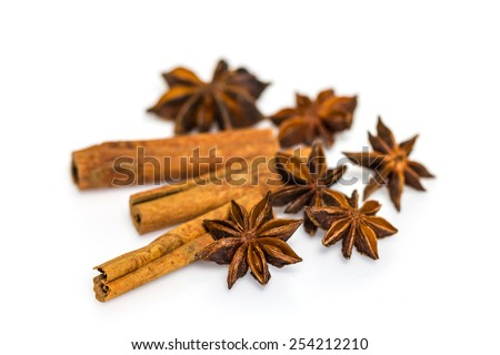 Star anise and cinnamon isolated on white background