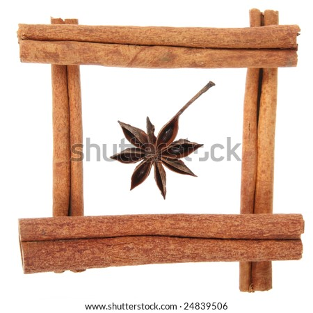 Star anise and frame of cinnamon