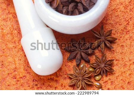 Star Anise in white granite mortar and pestle on textured background - stock photo