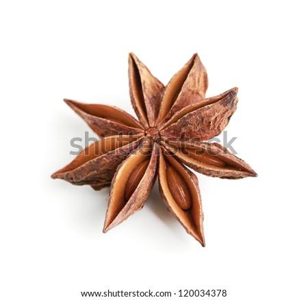 Star anise isolated on white background - stock photo