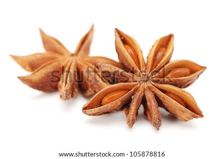 star anise on white background