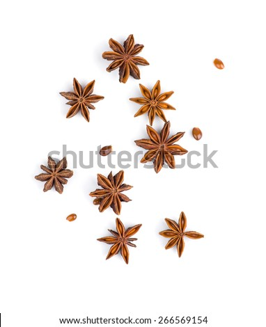 Star anise on white background - stock photo