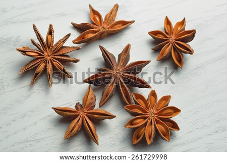 Star Anise on white board table - stock photo