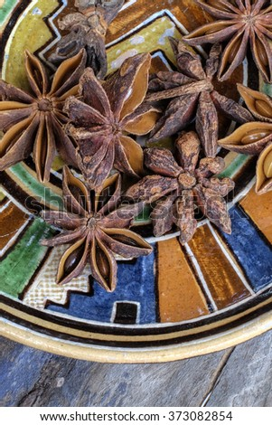 Star anise, , seasoning ingredients for cooking or baking - stock photo