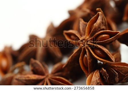 Star anise seeds isolated on white background - stock photo