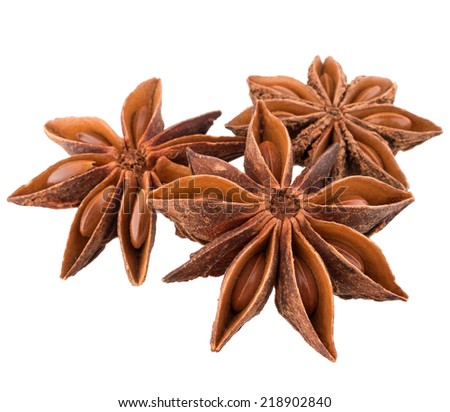 star anise spice isolated on white background closeup