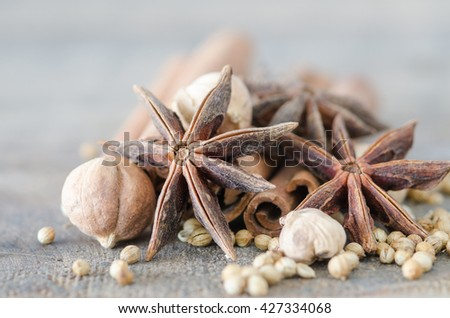 star anise with cinnamon stick ,Collection of spices for mulled wine and pastry  - stock photo