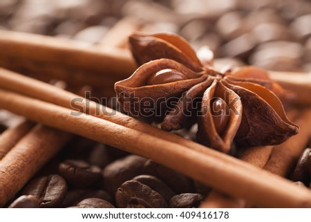 Star anise with cinnamon sticks and coffee beans, closeup macro shot, selective focus - stock photo