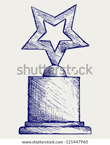 Star award against. Doodle style. Raster version - stock photo
