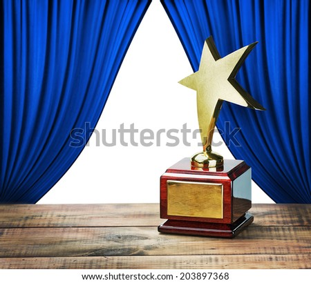 star award and blue curtains with space for text on white background - stock photo