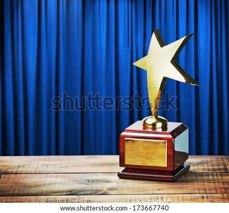 Star award wooden table - stock photo