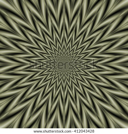 Star Blaster / An abstract fractal image with an exploding star design in sage green. - stock photo