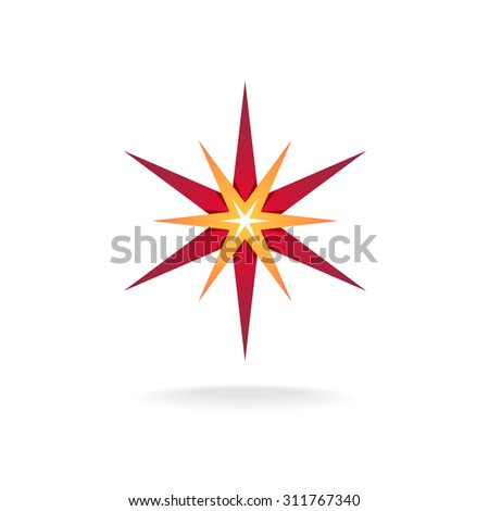 Star burst decoration sign. Six rays red and orange thin stars.