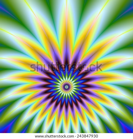 Star-Burst in Violet Orange and Blue / A digital abstract fractal image with a star burst design in orange violet blue and green. - stock photo