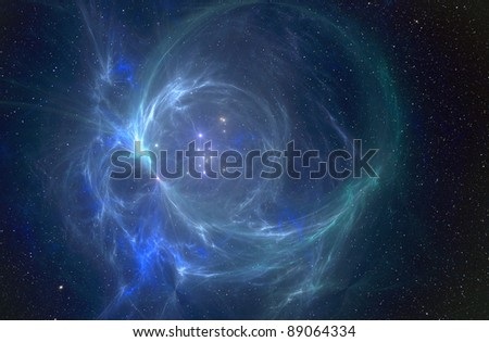 Star cluster and nebula in space. - stock photo