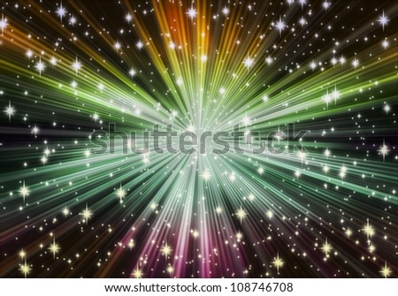 star explosion on dark - stock photo