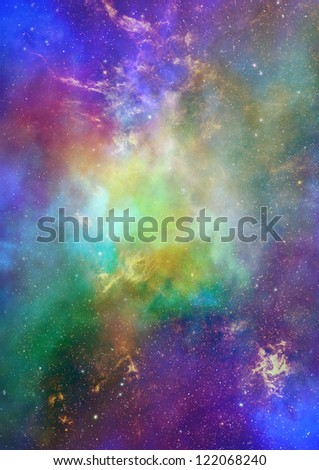 Star field in space, a nebulae and a gas congestion - stock photo