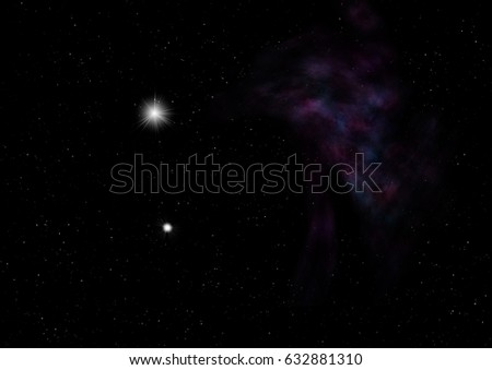 "Star field in space a nebulae and a gas congestion. ""Elements of this image furnished by NASA"". 3D rendering"