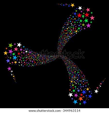 Star Fireworks Swirl Rotation glyph illustration. Style is bright multicolored flat stars, black background. - stock photo