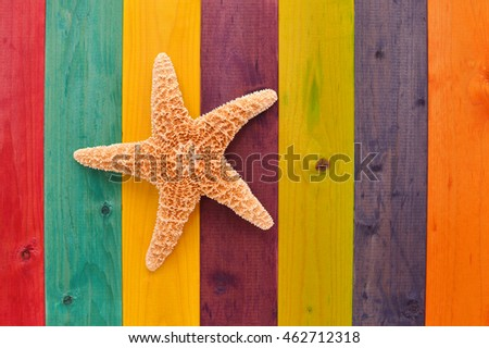 Star Fish Stained Wood Background