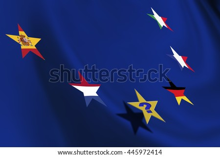 Star flag of countries in EU and a star with question mark. A symbol of contagion after UK's Brexit, some members may flee from European Union or could be encouraged to hold a similar referendum. - stock photo
