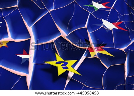 Star flags of countries in EU on cracked wall. The uncertainty in European Union provoked by the UK referendum on leaving the bloc and could stimulate countries to do the same and it can tear EU apart - stock photo