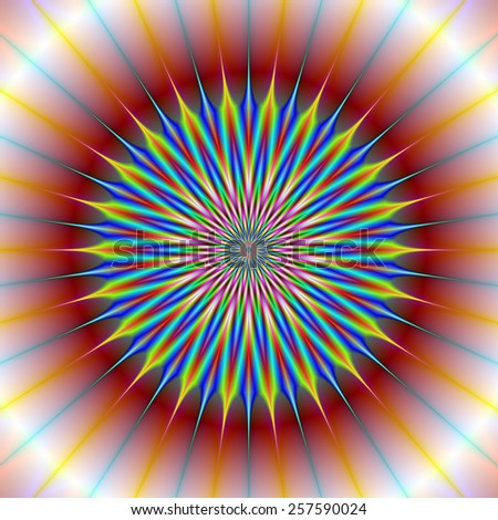 Star Flower / A digital abstract fractal image with a star flower design in red, blue, yellow and turquoise. - stock photo