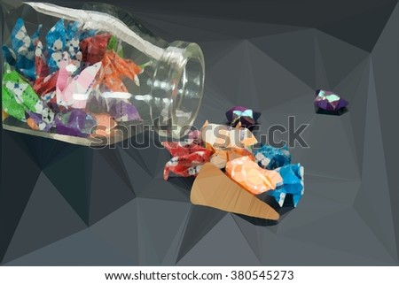 Star fold from paper contain in glass bottle with wooden cap geometry polygon illustration