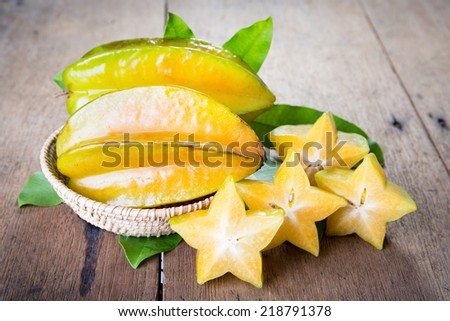 Star fruit on wood background .  - stock photo